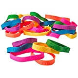 24 Rubber Bracelets With Sayings 8 Inches Diameter, Wristband, Assorted Colors - DREAM, LOVE, COURAGE, HOPE, FAITH, STRENGTH – For Kids, Teens, Adults, Fashion, Prize, Gift, Party Favor.