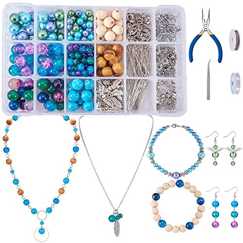 SUNNYCLUE 1 Set 767pcs Jewelry Making Kit Angel Wings Earrings Feather Pendant Bracelet Necklace Include Natural Gemstone Beads, Pearl and Wood Beads and Jewelry Finding Tools for Girls, Color 2 ()