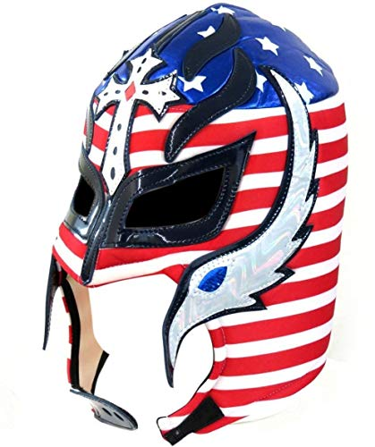Del Mex Lycra Lucha Libre Adult Luchador Mexican Wrestling Mask Costume (Rey Mysterio (Red, White, ()