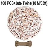 Small Natural Wood Mini Reusable Clip Clothes Pin Kits Metal Spring Jute Twine String Little Miniature for Hanging Photos,Decorative,Play Art Toy,Party,Tan Cute Old Fashioned Crafting Pack of 100