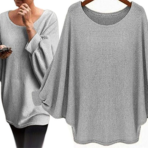 Price comparison product image haoricu Women Blouse, Fall Women Oversized Batwing Pullover Loose T Shirt (S, Gary)
