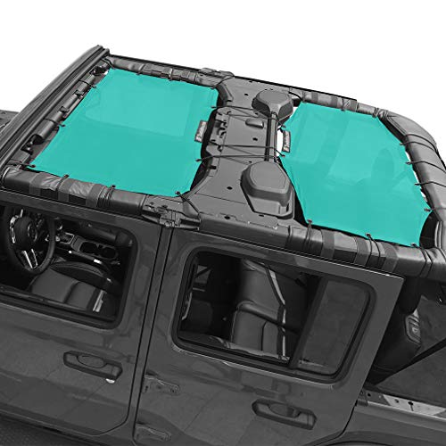 Shadeidea Jeep Wrangler Sun Shade JL Unlimited 4 Door Front and Rear 2 piece-Tiff Blue Mesh Screen Sunshade JLU Top Cover UV Blocker with Grab Bag-One time Install 10 years - Skin Front Door