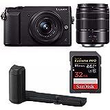 Panasonic Lumix GX85 Mirrorless Camera with 12-32mm and 45-150mm Lenses (Black) w/Panasonic Hand Grip + 32GB Sandisk Extreme Pro