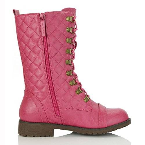 Mid Women's Buckle Pink DailyShoes Boots Hot Strap Pocket Lace Combat up Buckle Pu Ankle dXUBxUp