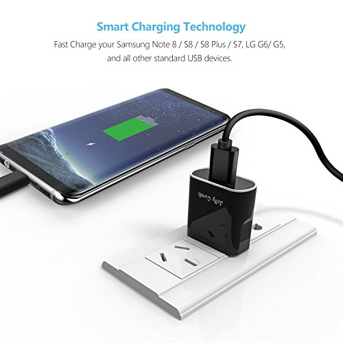 Quick Charge 3.0 Charger Kit for Samsung Galaxy S9 / Note 8 / S8, Jelly Comb Dual USB Car Charger + Wall Charger + 2 Pack USB Type C Cables for Galaxy S8 Plus, S9 Plus and More (Black) by Jelly Comb (Image #8)