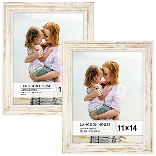 Langdons 11x14 Real Wood Picture Frames (2 Pack, Weathered White - Gold Accents), White Wooden Photo Frame 11 x 14, Wall Mount or Table Top, Set of 2 Lumina Collection (11x14 Distressed Wood Frame)
