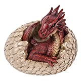 Pacific Giftware Red Dragon Egg Hatching Garden Statue Home Decor