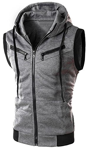 Men's Athletic Active Slim Fit Front Zip Up Sleeveless Hooded Vest