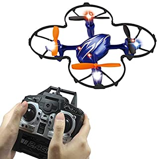 SKYKING F035 Mini Drone with 480p Camera for Kids, RC Quadcopter Pocket Beginners Drone with 2.4 GHz 4CH 6-Axis Gyro/Altitude Hold/3D Flips/One-Key Return/Headless Mode (Blue)