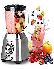 Duronic BL102 Blender/Mixeur Puissant de 1000W en Acier Inoxydable avec Carafe de 1,5 Litre - Idéal pour Smoothies, Milkshakes, Gaspachos, Compotes, Glace pilée, Fruits à coques
