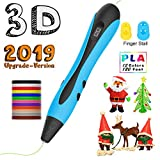 3D Printer Pen,Ezgogo Art Kit 2019 New for Kids, Teens, Adults - Mini Doodling Printing Tool with Nontoxic 1.75mm PLA Filament (Compatible with ABS Refills) - Adjustable No Mess Easy to Use(Blue)