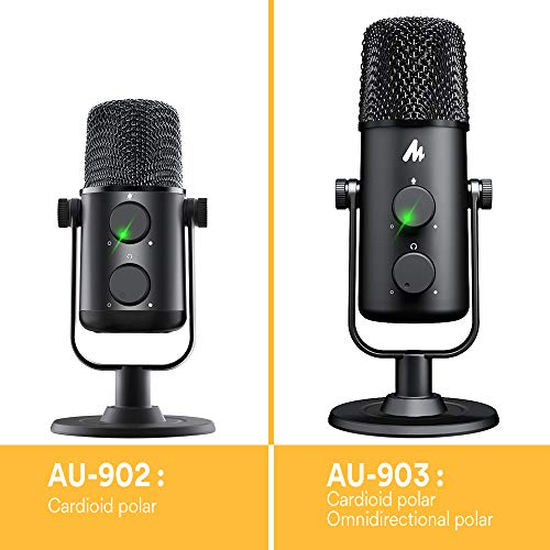 Computer Microphone MAONO AU-903 Podcast USB Condenser Mic with Switchable Polar Patterns & Mute Button,Zero-Latency Monitoring,Plug and Play for YouTube,Recording,Podcast,Gaming,Skype,Video