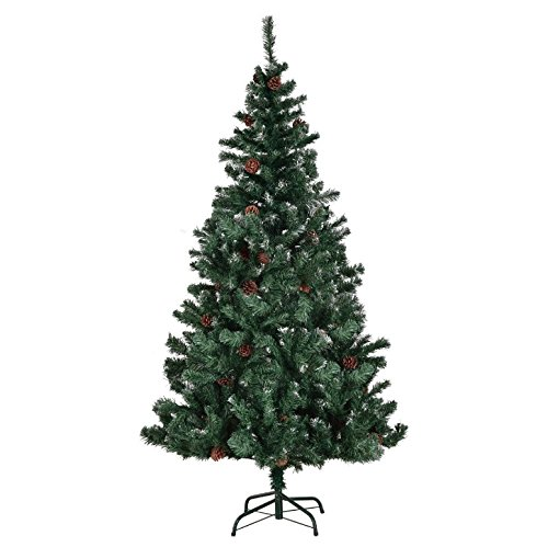 Nobel Metals (7FT Artificial Christmas Tree 61 Pine Cones 1148 Tips Durable Solid Metal Legs Indoor Outdoor Home Holiday Season Decoration Fresh Look Festive Atmosphere Premium Hinged Foldable Branches)