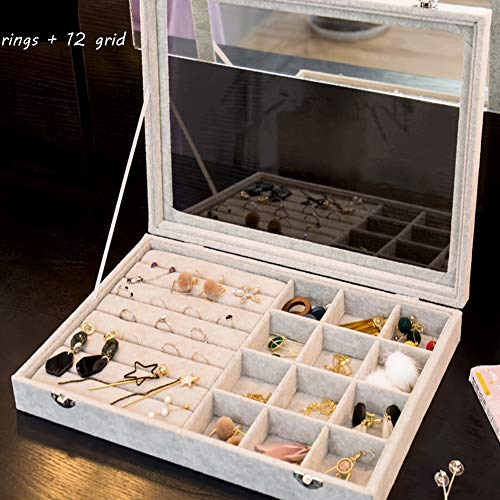 Jewelry Tray Display Display Organizer Storage Retro Case Multifunction Clear Cover (2 in 1)-g 14x10x2inch 48' Media Storage Tower