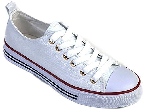 Women's Canvas Low Top Fashion Sneakers Cap Toe Style Classic Canvas Skate Sneaker (7, White) (Best Price On Chuck Taylors)