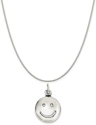 "Sterling Silver Smiley Happy Face Pendant Charm 18/"" Italian Box Chain"