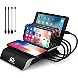 Charging Station for Multiple Devices, Burns Electronics Docking Station with Qi Wireless Charging Pad, Smart IC Technology for Smartphones, Tablets, Watches, USB Type-C, Multi Port Desktop Organizer