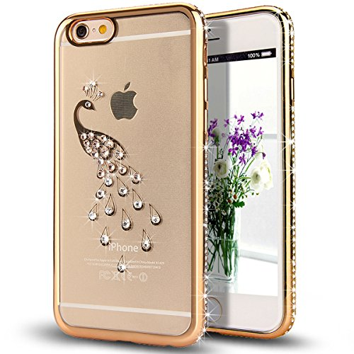 iPhone 6S Plus Case,iPhone 6 Plus Case,ikasus Golden Peacock Glitter Bling Crystal Rhinestone Diamond Clear Rubber Golden Plating TPU Soft Bumper Case Cover for iPhone 6S Plus / iPhone 6 Plus 5.5