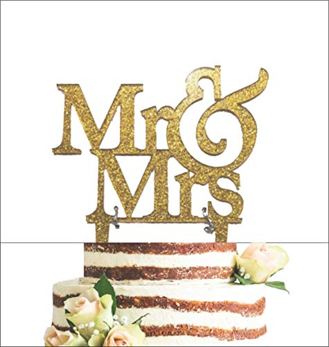 [USA-SALES] Mr and Mrs Sign, Bride And Groom Cake Topper Gold, Wedding Decorations, by Usa-Sales Seller]()