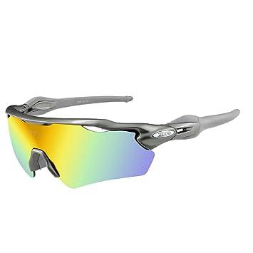 Duco polarizado Deportes Mens Gafas de Sol para esquí de conducción Golf Running Ciclismo Tr90 Superlight Marco con 5 Lentes Intercambiables 0028 ...