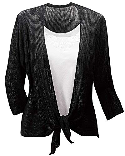 Kaktus Open Knit Cardigan, Black, Small/Medium (Kaktus Clothing)