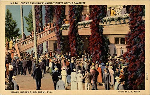 Crowd Cashing Winning Tickets on the Favorite, Miami Jockey Club Original Vintage Postcard