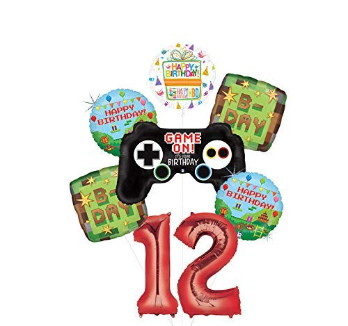 Video Game 12th Birthday Party Supplies Miner Pixelated TNT Minecraft-Inspired Balloon Bouquet Decorations -