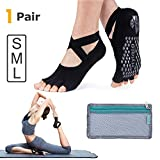 Hylaea Yoga Socks for Women with Grip & Non Slip Toeless Half Toe Socks for Ballet Pilates Barre Dance