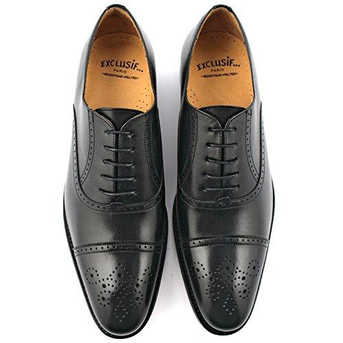 Exclusif ParisExclusif Paris Russel, Chaussures homme Chaussures de ville - Zapatos de Cordones Hombre Negro - negro