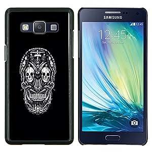 EJOOY---Cubierta de la caja de protección para la piel dura ** Samsung Galaxy A5 A5000 ** --Blanco Negro Ink Tattoo minimalista