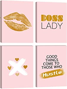 4 Panels Fashion Woman Canvas Wall Art Boss Lady Fresh Style Female Women Office Wall Art Prints Paintings Decorative Aesthetic Artwork Posters for Home Decor Framed Ready to Hang