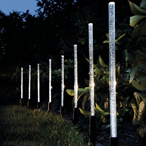 Whitelotous 8 Pack Whites Solar Tube Lights Solar Acrylic Bubble Pathway Decoration Garden Stick Stake Light Set