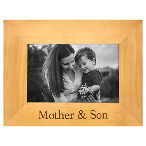 Engraved Wood Frame — Mother & Son — Made to Display Photos Sized 4x6