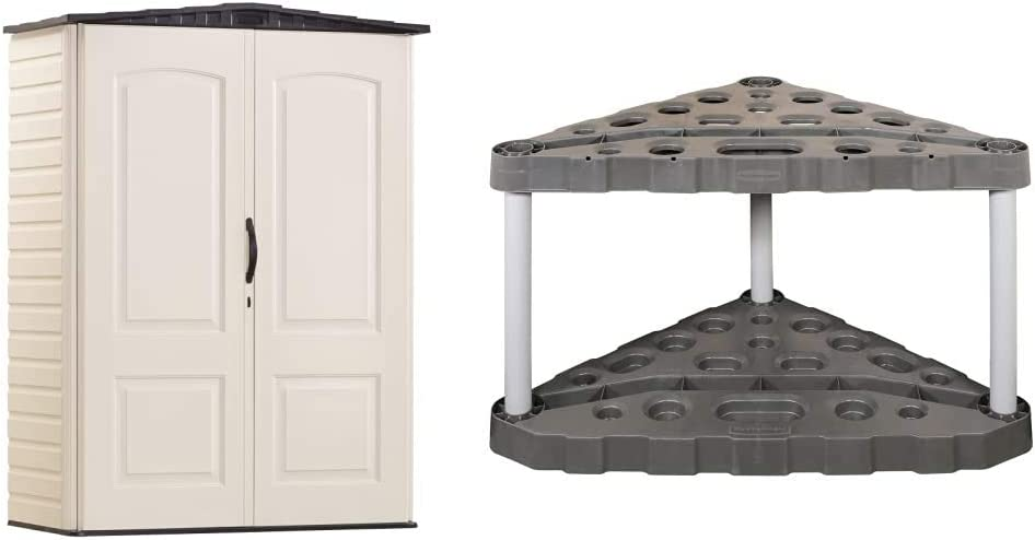 Rubbermaid Storage Shed 5x2 Feet, Sandalwood/Onyx Roof (FG5L1000SDONX), Sandstone & Corner Tool Rack, Tool Organizer, Broom Holder and Garden Tool Organizer
