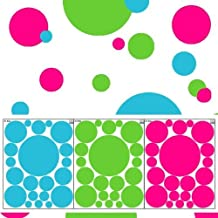 Wall Dots Decals- Tropical Colored Polka Dot Wall Stickers