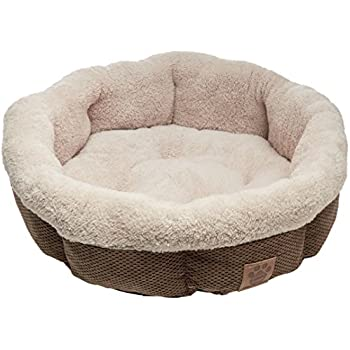 Precision Pet Shearling Round Bed, 21-Inch, Coffee Liqueur Chenille