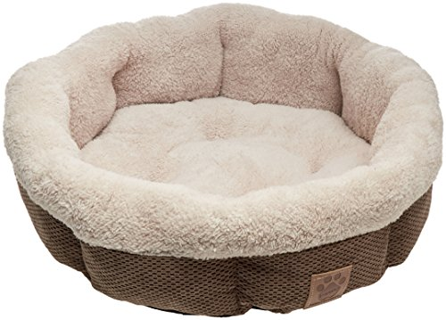 Precision Pet Shearling Round Bed, 21-Inch, Coffee Liqueur -