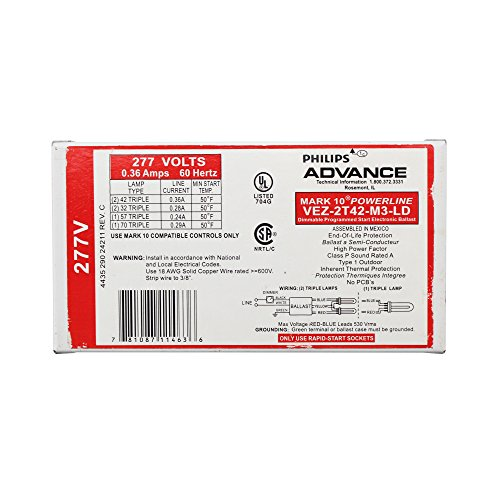 - Advance VEZ-2T42-M3-LD Mark 10 Dimmable Compact Fluorescent Ballast, CFL (2) 42W