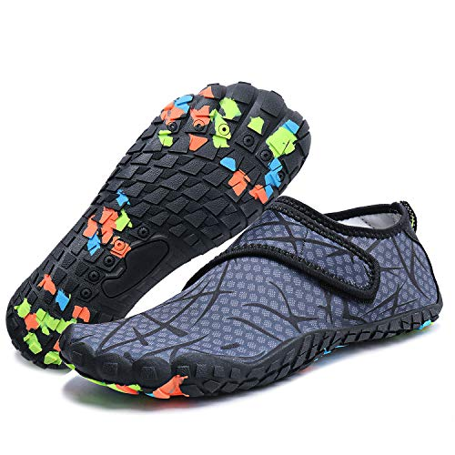 Mens Womens Water Sports Shoes Quick-Dry Lightweight Barefoot Wide Feet Toe Solid Drainage Sole for Swim Diving Surf Aqua Pool Beach Jogging Trip by PENGCHENG (Image #7)