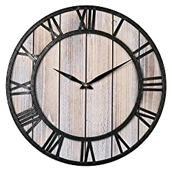 Large Farmhouse Wall Clocks, 18 Inch Vintage Roman Numerals Silent Clock, Solid Wood & Metal Frame Home Rustic Decorative Clock for Indoor, Living Room, Bedroom, Kitchen, Dining Room - Light Wooden