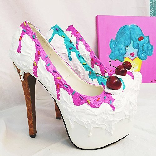 Adorable Ice Cream Sundae Inspired Stiletto Party Shoes w/6
