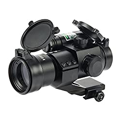 Hiram 1X30 Green & Red Dot Sight for Rifles & Shotguns with Green Laser, Picatinny Cantilever PEPR Mount
