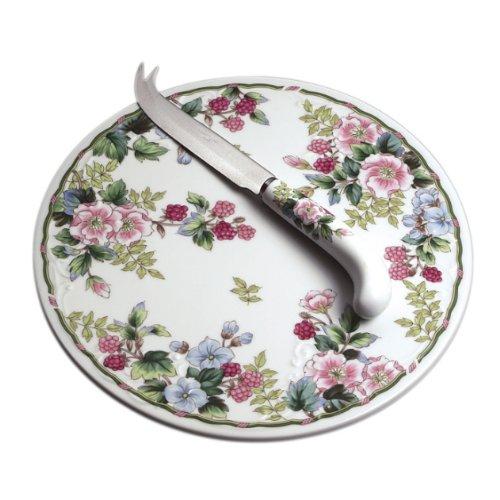 Andrea By Sadek Flowers & Berries Round Cheese Board & Knife