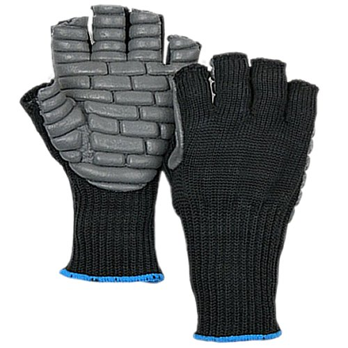Majestic Glove 1904/11 Industrial Glove, Fingerless Anti Vibration, Nylon, X-Large, Size 11, Black (Pack of 12)