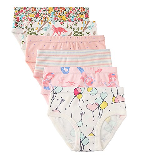 Little Girls' Soft Cotton 6-Pack Underwear Bring Cool, Breathable Comfort Experience in Summer. (Assorted B, 6-7Years) by Shine