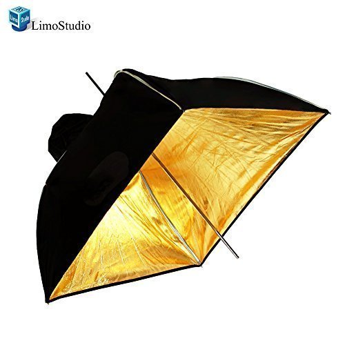LimoStudio Photo Video Photography Studio 24'' Gold Square Multifunctional Soft box Diffuser Reflector Umbrella by LimoStudio