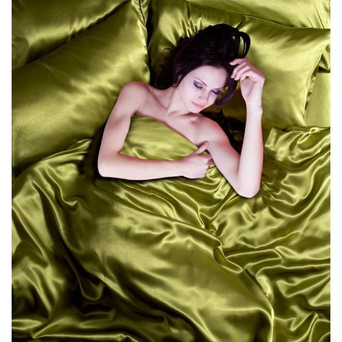 Satin 6 Pcs Silky Sexy Bedding Set Queen / King Duvet Cover Fitted Sheet & 4x Pillowcases 8 Colors (Queen, Olive Green) (Green And Cream Bedding Set)