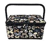 Medium Rectangle Sewing Basket Box with Tray Pincushion 11''x7''x6.5'' (Medium 11''x7''x6.5'', Black with Beige Butterflies)