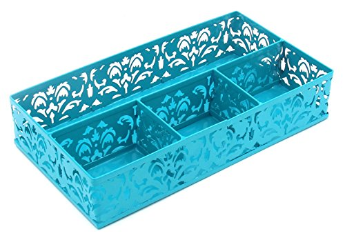 (EasyPAG Desk Drawer Organizer with 3 Small Bins and 1 Long Bin,Dark Teal)