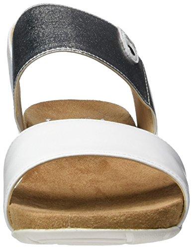 Caprice 28604, Sandalias con Cuña para Mujer Blanco (White Na.multi)
